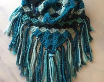 Crochet triangle scarf, fringed cowl, boho fringe scarf in teal blue