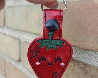 Strawberry Keychain - Strawberry Charm - Strawberry Party - Strawberry Bag Tag - Strawberry Purse Charm - Red Keychain - Red Glitter