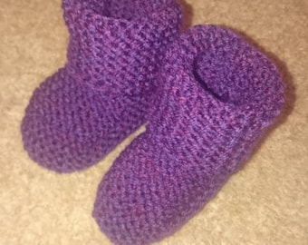 Hand Knitted Baby Booties (0-3 months)