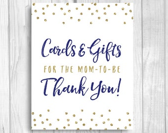 Cards and Gifts for the Mom-to-be 5x7, 8x10 Printable Baby Shower Gift Table Sign - Navy Blue and Gold Glitter Polka Dots