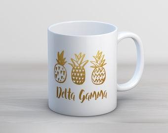 DG Delta Gamma Faux Gold Foil Pineapple Mug Sorority Coffee Mug
