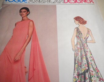 Vintage 1970's Vogue 1404 American Designer Jerry Silverman Evening Dress Sewing Pattern Size 12 Bust 34