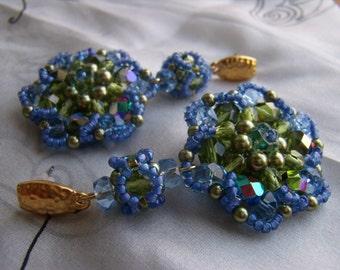 Crystal Flowers, Long Sparkling Green and Blue Crystal Glass Bead Earrings, Luxury Beaded Dangle Flower Blue Green Earrings, Gift for Her