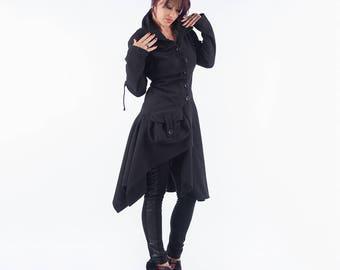 Winter Coat/ Black Coat/ Asymmetrical Coat/ Elegant Coat/ Warm Coat/ Woman Coat/ Cashmere Coat/ Wool Coat/ Woman Jacket/ Friends Fashion