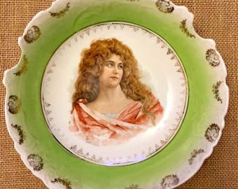 Antique Victoria Austria Large Scalloped Porcelain Bowl with Lovely Portrait of Woman