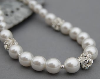 White Pearl Necklace, Bridesmaid Jewelry, Pearl Lover Gift, Pearl Rhinestone Necklace, Bridal Necklace, Romantic Wedding