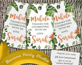 Luau Thank You Tags, Luau Party Tags, Luau Favor Tags, Luau Labels, Hawaiian Thank You Tags, Aloha Party Tags, Hula Birthday Tags, Luau Tag