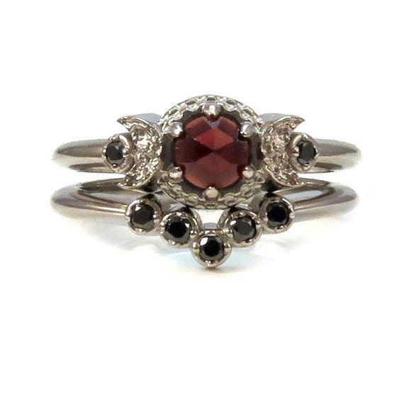 Victorian Gothic Engagement Ring Set - Garnet and Black Diamonds with Crescent Moons 14k Palladium White Gold