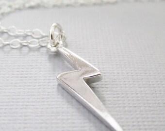Silver Lightning Bolt Necklace, Sterling Silver Lightning Bolt Charm, Meteorologist, lightning strike, Thunder Storm Lovers