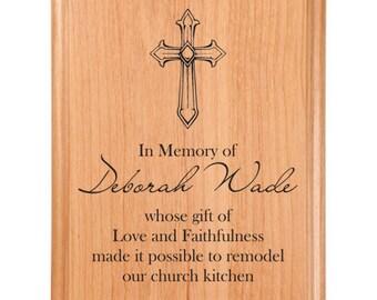 Cross Memory Plaque