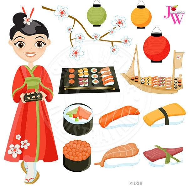 Sushi Cute Digital Clipart Japanese Cuisine Sushi Clip Art