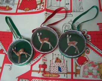 wee tiny deer in round shadow box ornaments