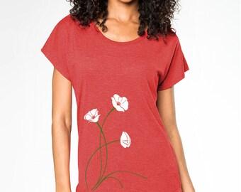 Poppies T-shirt, Women's Graphic Tee, White Poppies Art, Tomato Red, Dolman short sleeve, Gift for her, Art T-shirt, Cool t-shirt