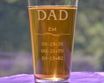 Est Dad's Pub Glass with Childrens Birthdate, Father's Day Gift, Dad's Birthday, Beer Gift, First Dad Gift, Grandpa, Papa Daddy
