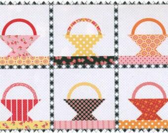Annie's Farm Stand Black Polka Dot Basket Quilt Panel SKU 10101-Black