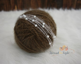 pearl and mohair newborn tie back