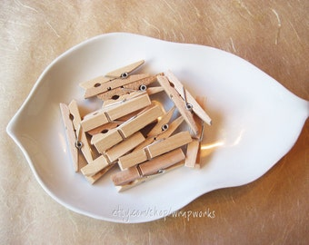 "48 Small Tea Stained Clothes Pins- Small 1 3/4"" Size"