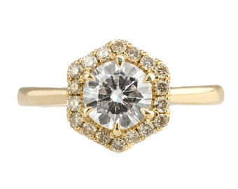 Hexagon Diamond halo ring in 14kt gold with moissanite center