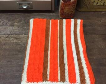 Vintage Baby Blanket Lap Blanket Throw Orange brown retro