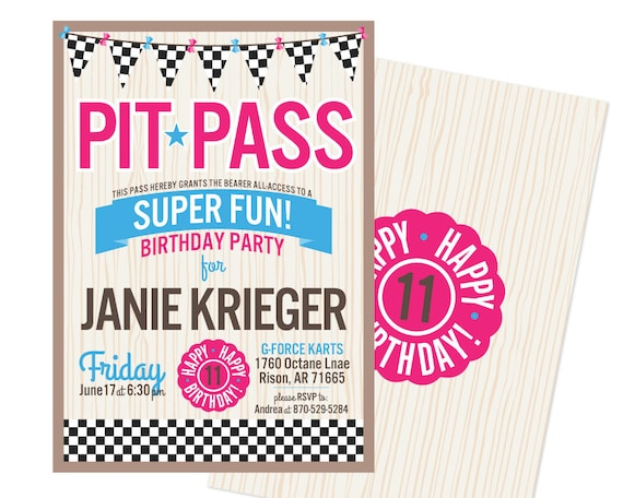 girls pit pass birthday party invitations  unique