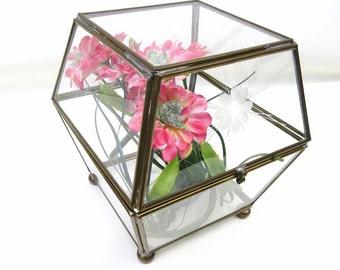 Vintage Glass Brass Box   Display Box   Dome Box   Glass Box   Terrarium   Etched Glass   Treasure Box