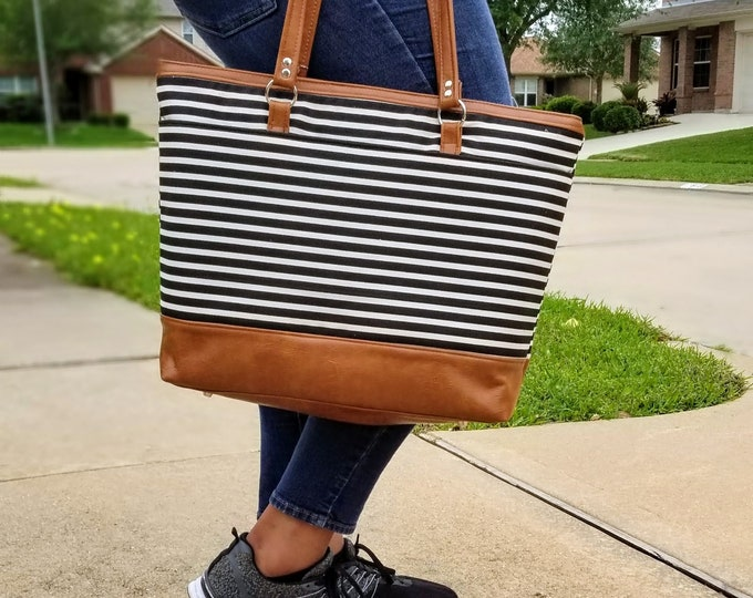 Featured listing image: Canvas Tote Bag, Work Bag, Everyday Tote, Diaper Bag, Travel Bag, Waterproof, Black White Stripe, Faux Leather, Handbags, Personalized Tote