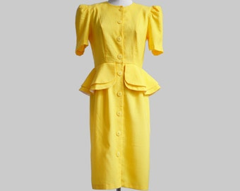 Peplum day dress in sunny yellow with puff short sleeves, size S-M, vintage/spring/summer/fall, made in USA
