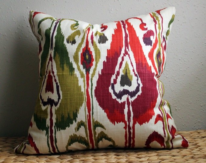 DISCONTINUED red and green ikat pillow cover