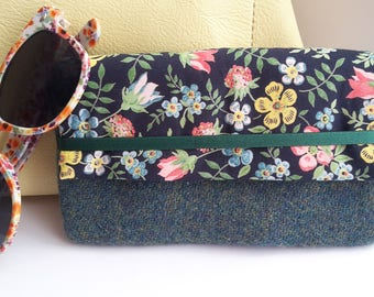 Harris Tweed Green Glasses Case, Liberty Edenham fabric, Green Sunglasses Case, Birthday Gift for Aunt, Birthday Gift for Mother in Law