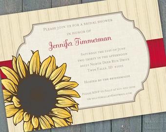 bridal shower invitations, sunflower bridal shower invitations, 16th birthday party, sunflower invitations, sunflower birthday party, IN203