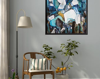 Large Abstract ORIGINAL Painting, Abstract Nature, Marine Blue Teal White Yellow Painting, Abstract Art, Acrylic Ink Painting, Line Painting