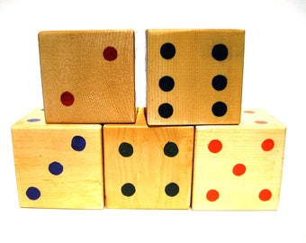 5 Yard Dice,rustic toys,Yard Games,Large Wood Dice,Giant Dice,Outdoor Dice,Outside Games,Outside Toys,Oversized Yatzee Dice,Outdoor Games