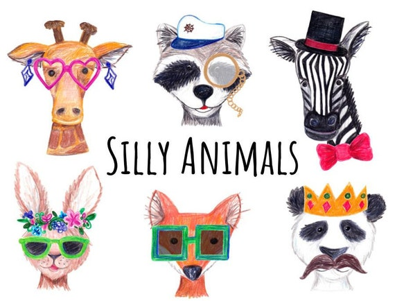 hand drawn silly animals clipart dressed animals clipart rh etsy com silly clipart of easter hilarious clip art free
