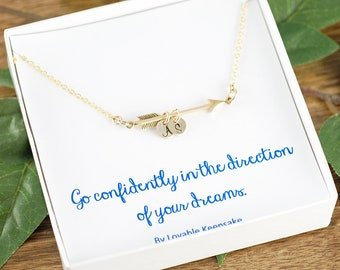Gold arrow necklace, graduation gift, go confidently in the direction of your dreams, college graduation gift her, Graduation