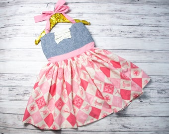 Girls Cowgirl Party Dress- pink cowgirl dress, halter dress, Western Cowgirl dress, Western dress, cowgirl birthday outfit, country outfit