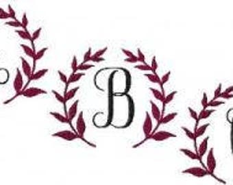 Machine Embroidery Design- Vineyard Monogram Font - TWO SIZES - Instant Download