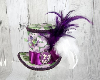 Purple, White, and Green Hummingbird Cameo Empress Collection Large Mini Top Hat Fascinator, Alice in Wonderland Mad Hatter Tea Party, Derby