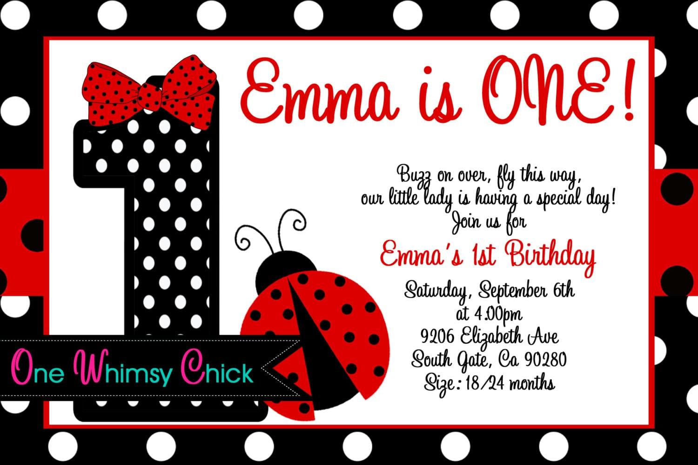Red and black polka dot ladybug 1st birthday party invitations zoom stopboris Gallery