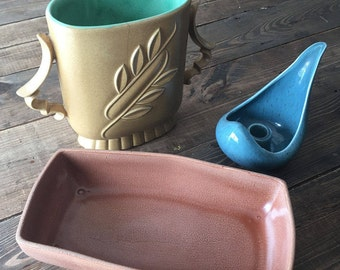 Collection of Vintage Red Wing Numbered Stoneware/Vintage Red Wing Pottery Collection of 3 Pastel Pieces/Collectible Pottery