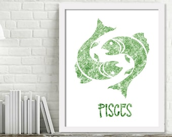 Printable Zodiac Wall Art, Pisces Print, February Birthday Gift, March Birthday Gift, Horoscope Print, Digital Download Picture