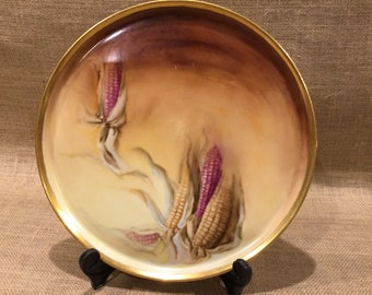 Vintage Hand Painted Harvest Corn Theme Plate Tray Trimmed in Gold Gilding.