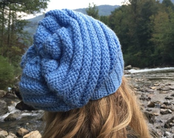 Blue Slouchy Beanie, Textured Beanie, Slouchy Hat, Carolina Panthers, Accessories