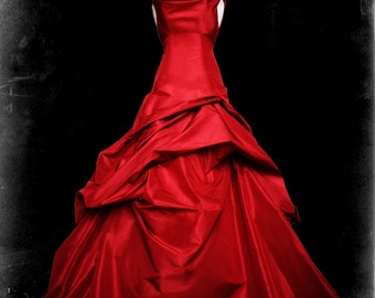 Red Wedding Dress Gothic Ball Gown - Casey Style - Custom Made in your size