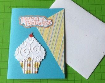 Happy Birthday cupcake with a cherry on top handmade hand stamped greeting card swirls