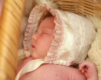 Dusty Pink Silk and Vintage lace Newborn bonnet  -- silk baby bonnet. Easter bonnet. infant photo prop. silk baby hat. baby girl shower gift