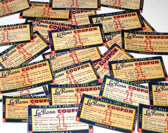 25 Vintage La Rosa Coupons 1950s - for Altered Art, Scrapbooking, Collage, Crafts, etc.