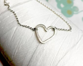Sterling Silver - Heart Sideways Necklace / simple minimal necklace / heart necklace / hammered necklace / layering necklace / heart pendant