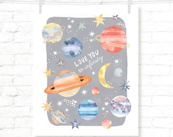 Gray - Planets - Stars - Outer Space - Solar System - Kids - Watercolor - Art Print - Wall Art