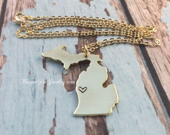 Michigan State ~ Hand Stamped Gold (Brass) Pendant ~ Charm Necklace ~ Great Lakes Jewelry ~ MI Necklace ~ State Pride ~ HarperLeeJewlery
