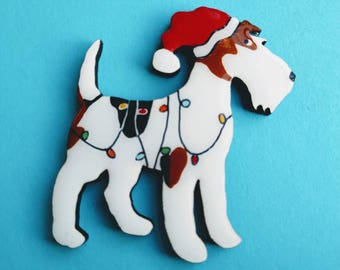 Wire Fox Terrier Christmas Pin, Magnet or Ornament -Free Shipping -Hand Painted- Free Personalization Available